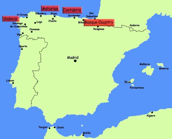Kaart Van De Noord Spaanse Kust Het Noorden Van Spanje Resorts