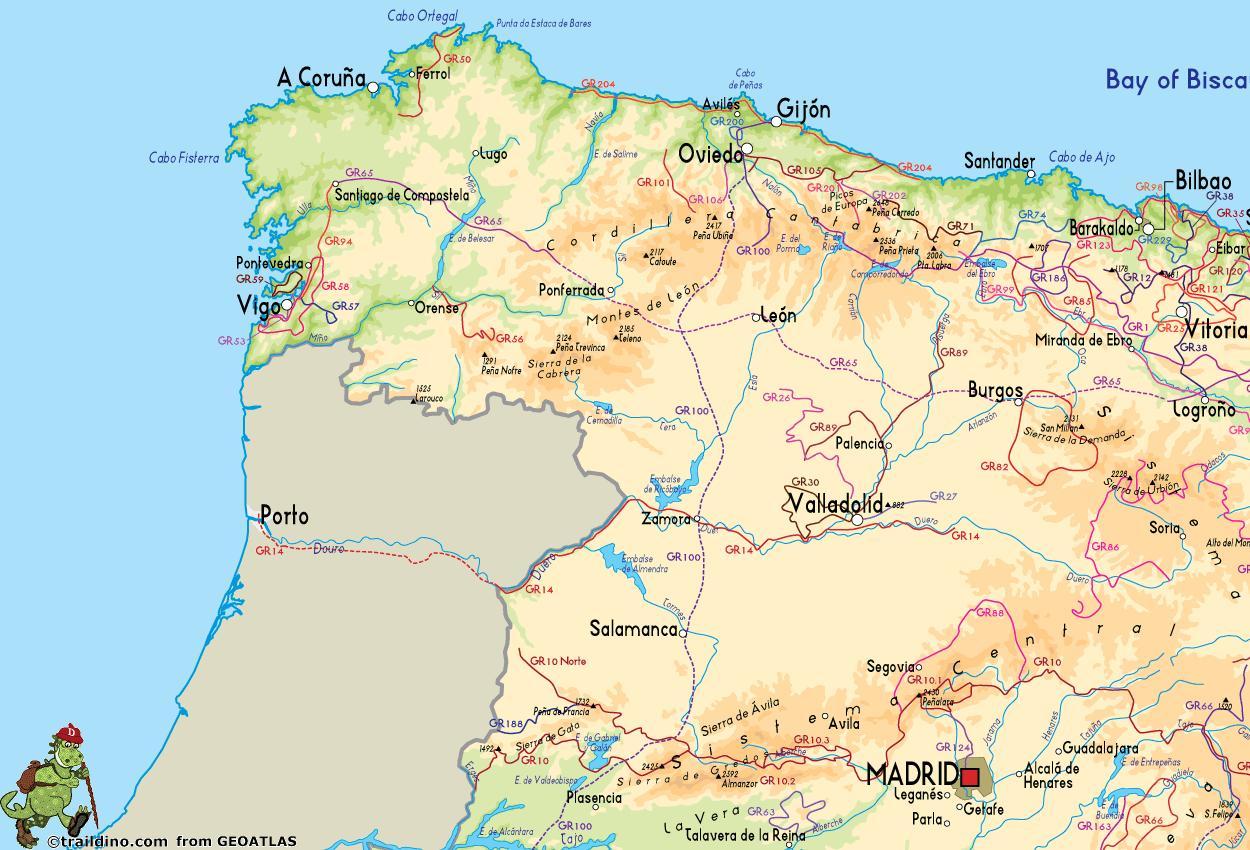 Kaart Van Noord West Spanje Kaart Van Noord West Spanje Kust