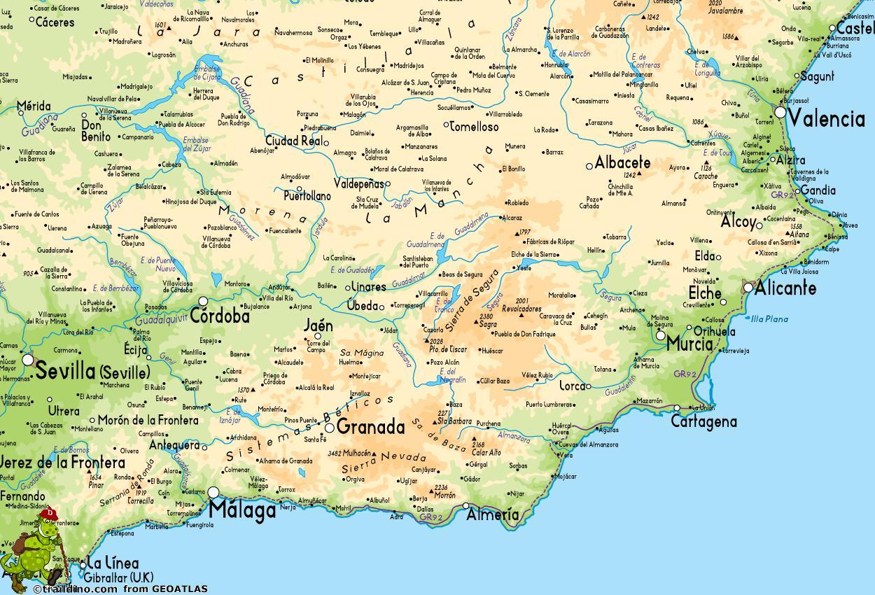 Kaart Van Zuid Oost Spanje Kaart Van Zuidoost Kust Van Spanje