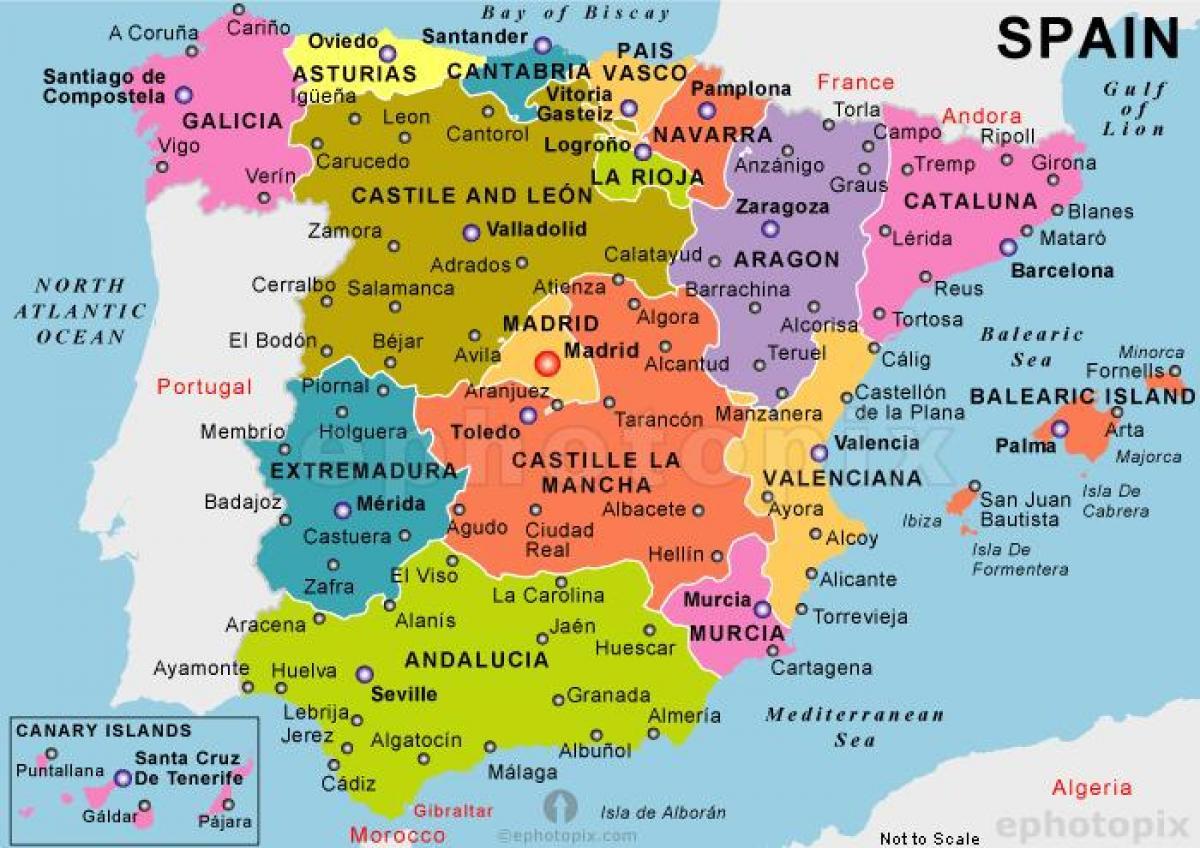 Een Kaart Van Spanje De Beste Kaart Van Spanje Zuid Europa