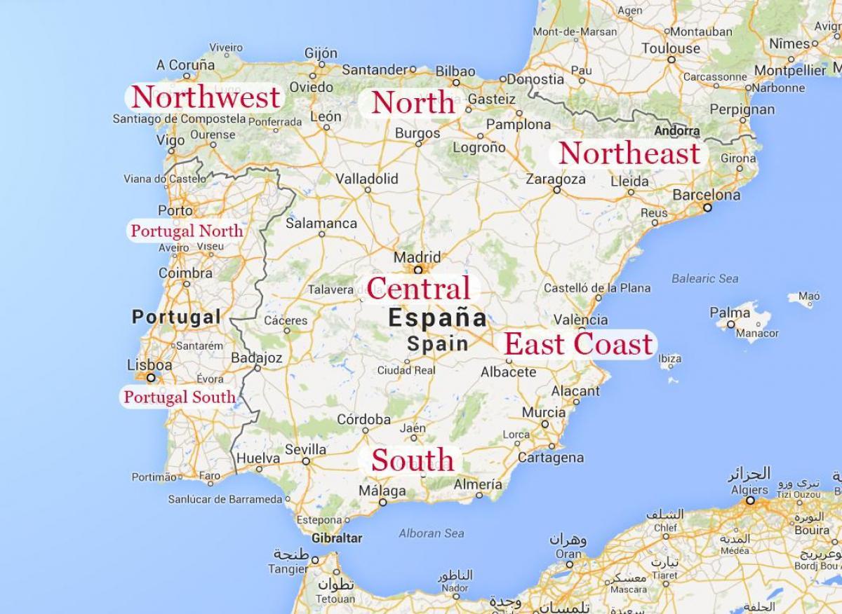 Kaart Van Noord Oost Spanje Kaart Van Noord Oost Spanje Kust