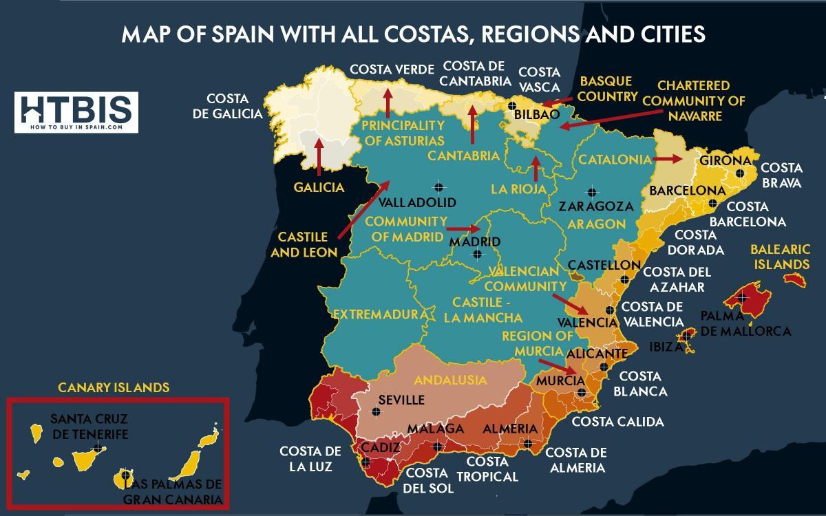 Kaart Van Zuid Spanje Kust Kaart Van Het Zuid Spaanse Kust Zuid