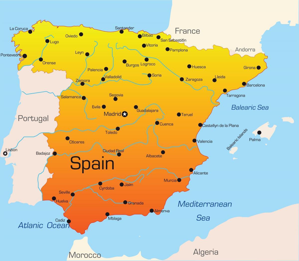 Spanje Vakantie Bestemmingen Kaart Vakantie Bestemmingen In